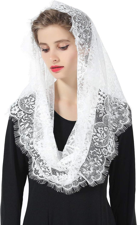 Delicate Nice Eyelash Lace Veil Church Catholic Chapel Mantilla Head Cover Latin Mass Off White