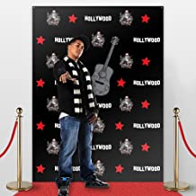 STEP AND REPEAT LA Photo Backdrop,Party accessory, No-wrinkle,Fabric,Seamless,Foldable Banner. Red Carpet Instant Hollywood Mural, Photo Booth Prop, Non-Glare. 7' Tall and 5'3