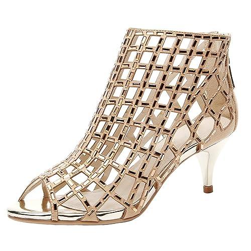 0667de69ad7d2 jiandick Womens Rhinestone Ankle Bootie Prom Heeled Sandals Evening Dress  Stiletto High Heel