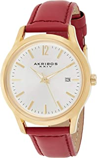 Akribos XXIV Womens Quartz Watch, Analog Display and Leather Strap