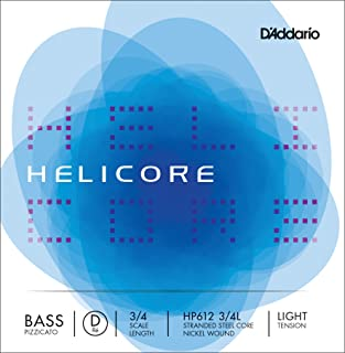D'Addario Helicore Pizzicato Bass Single D String, 3/4 Scale, Light Tension