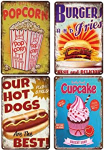 Tin Sign Food Vintage Metal Tin Signs for Cafes Bar Pub Diner Home Wall Decor - Fast Food 8x12inchx4pcs