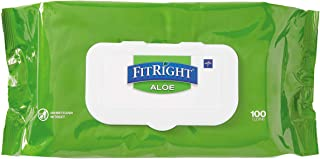 Medline-MSC263954 FitRight Aloe Personal Cleansing Cloth Wipes, Unscented, 8 x 12 inch Adult Large Incontinence Wipes, 100...