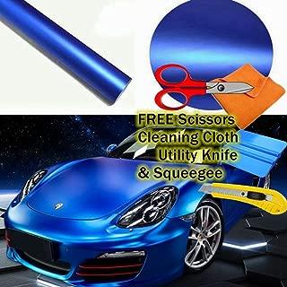 M J-AUTOPARTS Premium Satin Matte Chrome Metallic Vinyl Film Wrap Sticker Airr Bubble Free Free Cutter, Scissors & SqueegeeFree Cutter, Scissors & Squeegee (20FTX5FT / 240