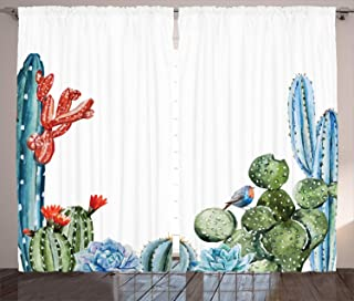 """Ambesonne Cactus Curtains, Cactus Spikes Flowers with Birds Cartoon Style Vintage Like Colored Artwork, Living Room Bedroom Window Drapes 2 Panel Set, 108"""" X 96"""", Blue Green"""