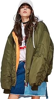 Women's Fashion Hood Bomber Jacket Oversize Cotton Padded Warm Winter Coat