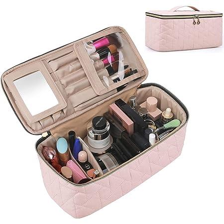 BAGSMART Makeup Bag Cosmetic Bag Large Toiletry Bag Travel Bag Case Organizer for Women, Soft Pink