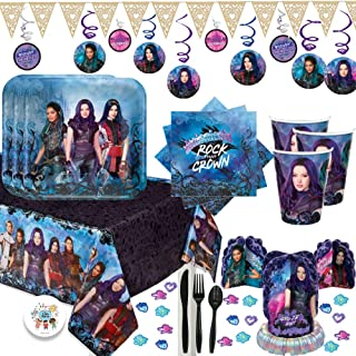 Mega Descendants 3 Birthday Party Supplies Pack For 16 With Plates, Cups, Napkins, Tablecover, Table Decorating Kit, Cutlery, Swirls, and Pin