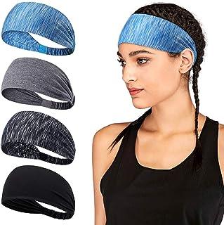 ALLYAOFA 4PCS Workout Headband, Yoga Sports Headband Lightweight Soft Wicking Stretchy Head Wrap Ideal for Sports, Fitness...