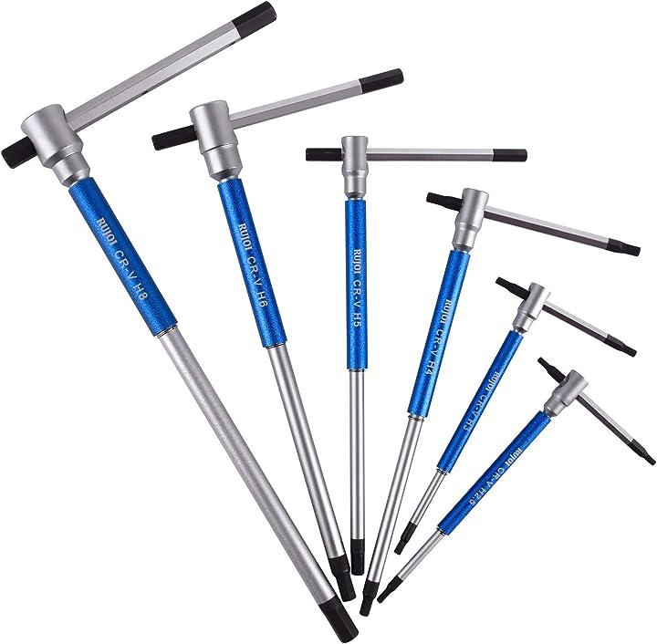 Set di 6 chiavi a brugola esagonali scorrevoli a t con manicotti per velocità di rotazione rapida rujoi B08155K2Z3