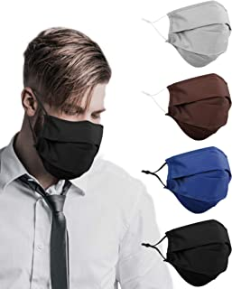 4 Pack Bearded Men Extra Large XL Face Mask Reusable Cloth Breathable Washable Adjustable with Nose Wire