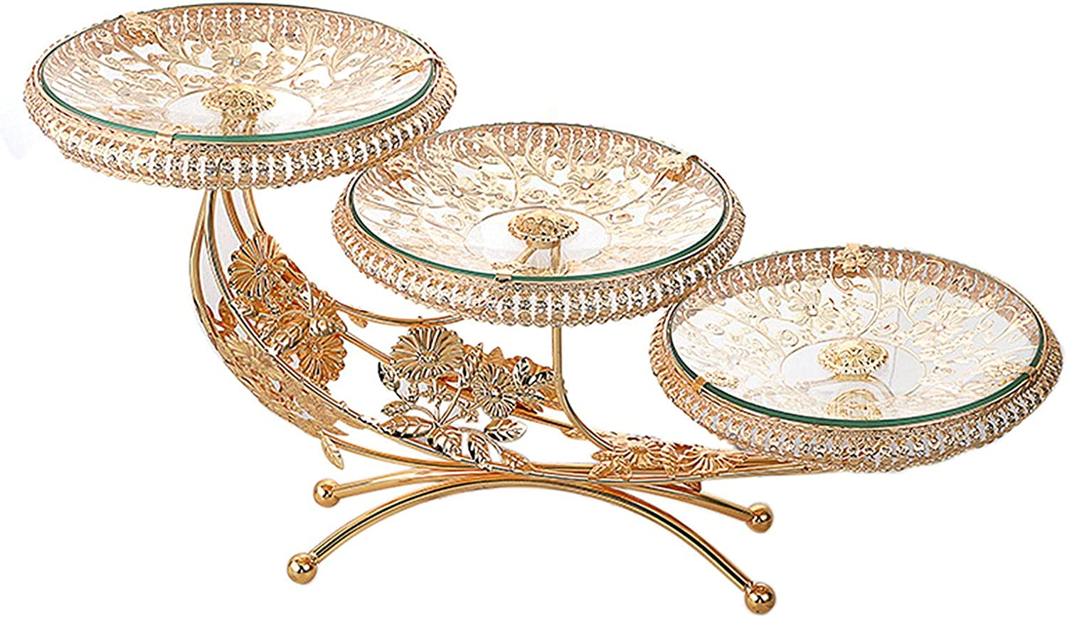 Luxury Golden Cake Stand Now on sale New Free Shipping with 3 Tempered Glass Eu Vintage Trays