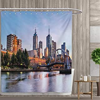 smallfly City Bathroom Accessories Early Morning Scenery in Melbourne Australia Famous Yarra River Scenic Shower Curtains Fabric Extra Long 96