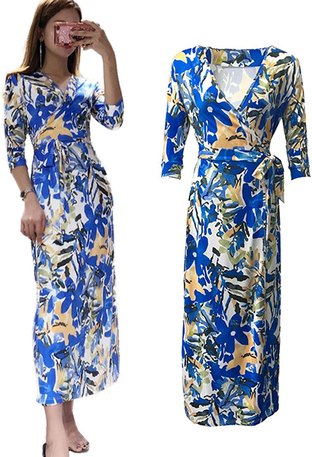 XC DVF Womens 3 4 Sleeve Dresses Summer Vintage Long Maxi Floral Belted Dress