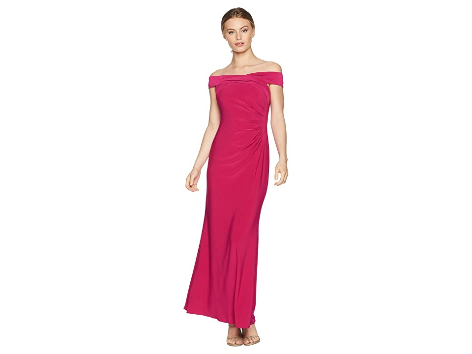 Adrianna Papell Petite Off the Shoulder Stretch Jersey Long Gown (Bright Syrah) Women
