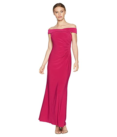 Adrianna Papell Petite Off the Shoulder Stretch Jersey Long Gown at ...