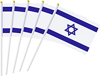 25 Pack Hand Held Small Mini Flag Israel Flag Israeli Flag Stick Flag Round Top National Country Flags,Party Decorations Supplies For Parades,World Cup,Festival Events ,International Festival