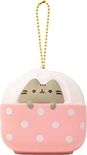 Slow Rising [Squishy Collection] Pusheen Short Hair Cat [Ice Cream] Square Series Ball Chain Adorable Soft Stress Relief Toy for Kids and Adults, White & Pink