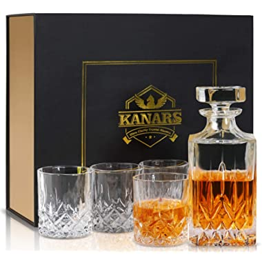 KANARS Whiskey Decanter And Glass Set In Unique Luxury Gift Box - Original Crystal Liquor Decanter Set For Bourbon, Scotch, Vodka or Whisky, 5-Piece