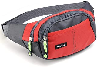 Wekine Lightweight Waist Bag 4 Zipper Pockets, Fanny Pack/Waist Packs Adjustable Belt Strap Runner, Cyclist,Hiking Outdoor Sports. (Black)