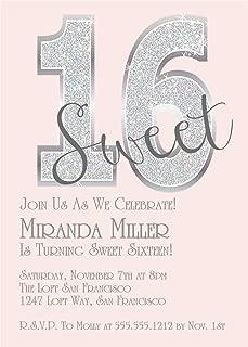 Pink Diamonds Sweet 16 Birthday Party Invitations, Bling Sweet 16 Birthday Party Invitations
