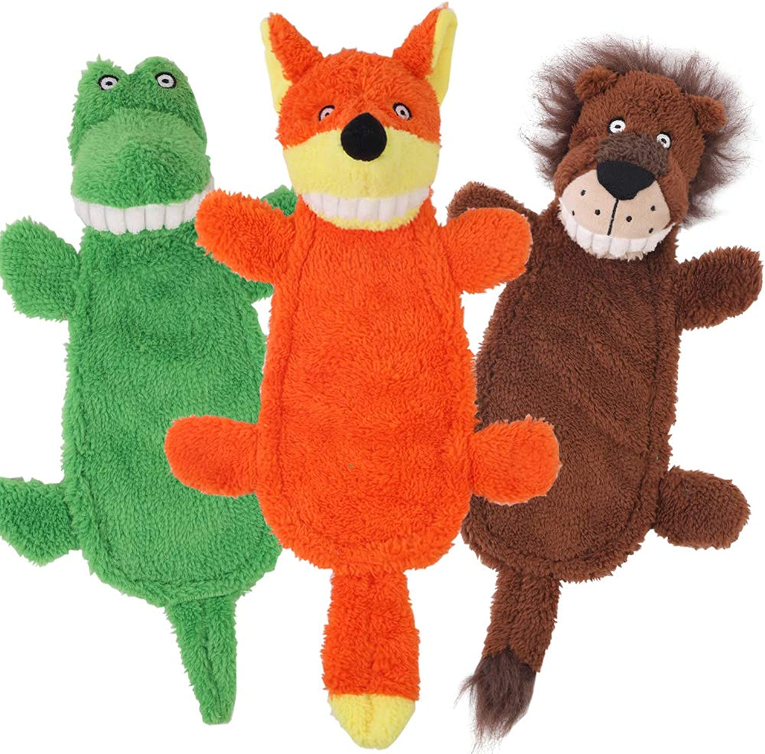 CNMGBB Crinkle Dog Toy No Stuffing Squeaky Plush Dog Toy Durable Stuffingless Cute Dog Chew Toy Set with Fox Lion and Crocodile for Small Medium and Large Dogs 16 inch 3 Pack Pet Toys