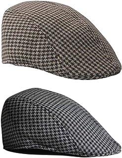 LuDa 2pcs Baby Kids Newsboy Cap Beanie Hat Berets Leisure Cap Brown+Black