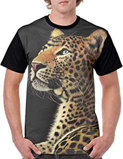 Mens T Shirts Graphic Men Alert Cheetah 3D Printing Short Sleeve Shirts Casual Graphic T-Shirt