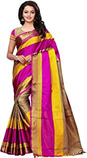 KANCHNAR Women's Beige and Pink Poly Silk Printed Saree with Unstitched Blouse