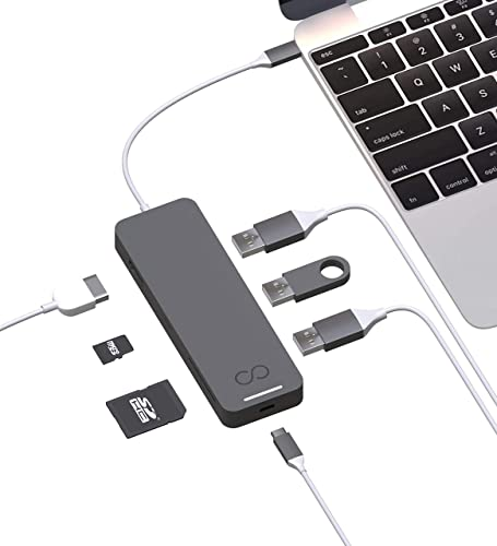 high quality Blucoil USB Type-C Hub 7-in-1 USB C Adapter with 4K HDMI, MicroSD/SD Card Reader, 3X USB 3.0 and USB-C Pass-Through Charging Ports Compatible new arrival with MacBook, Chromebook, high quality Mac, Windows, and More (Grey) online sale