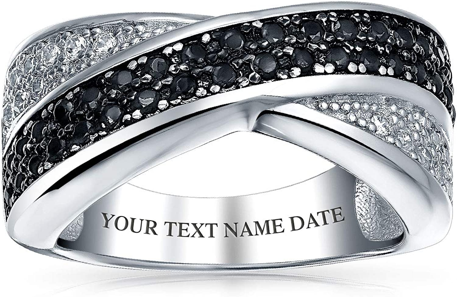 Two Tone Black And A surprise price is realized White Max 52% OFF Pave Cubic Ba Criss-Cross Zirconia CZ X