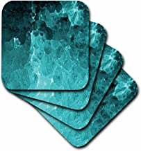 3dRose CST_124682_3 Turquoise Natural Crystal Look Ceramic Tile Coaster (Set of 4)