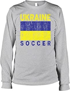 Hoodteez Ukraine Soccer, Ukrainian Flag, Football Men's Long Sleeve Shirt