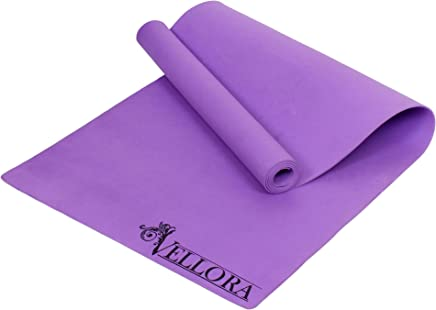 VELLORA Purple Yoga Mat Anti Skid Yoga Mat for Gym Workout and Flooring Exercise - Yoga Mat for Men Women with Strap