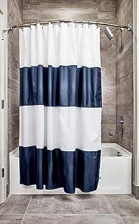 """InterDesign 26901 Mildew-Free Water-Repellent Zeno Shower Curtain, 72 by 72"""", Navy/White Standard"""
