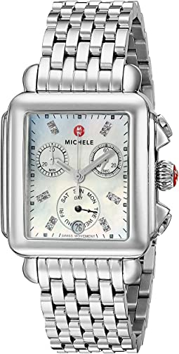 Michele Deco Diamond Dial Stainless Steel Watch
