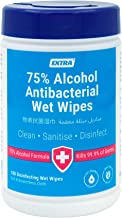 Extra Antibacterial 75% Alcohol Disinfecting Wet Wipes with Aloe Vera Extract, 100 Wipes