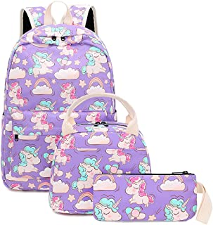 Backpack for School Girls Teens Bookbag Set Kids School Bag 15 inches Laptop Daypack (Purple/Unicorn Set)