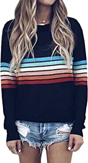Women's Sweater Rainbow Colorful Striped Sweaters Long Sleeve Crew Neck Color Block Casual Pullover Blouse Tops
