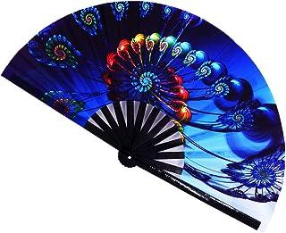STHUAHE Ventilador de Mano Grande Plegable, chinease/japonés, abanicos Plegables a Mano para el Rendimiento, Accesorios para Festivales de música, decoración del hogar, Baile, Fiesta, Regalo, Colour6