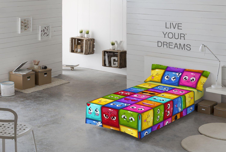 NATURALS Juego sabanas 3 pcs para Cama 90 cms Hello emoticonos, 100% algodón, Multicolor, 90 x 190 cm: Amazon.es: Hogar