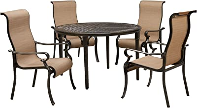 Hanover BRIGDN5PCRD Brigantine 5-Piece 4 Contoured-Sling Chairs and a 50-in. Round Cast-Top Table Outdoor Dining Set, Tan