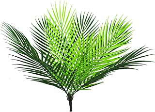 Lanldc Artificial Tropical Palm Leaf Bush in Green Plastic Areca Palm Plant Tropical Greenery Accent