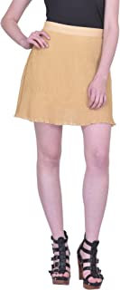 Martini Beige Textured Pleated Thigh Length Mini Party Skirt