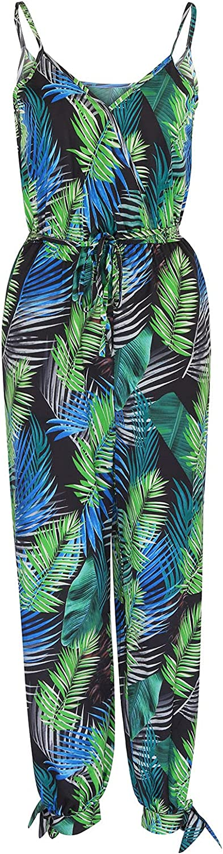 Afelkas Womens Floral Printed Jumpsuits Striped Graffiti Print Rompers Belt Siamese Pants Spaghetti Straps Wide Leg Pant
