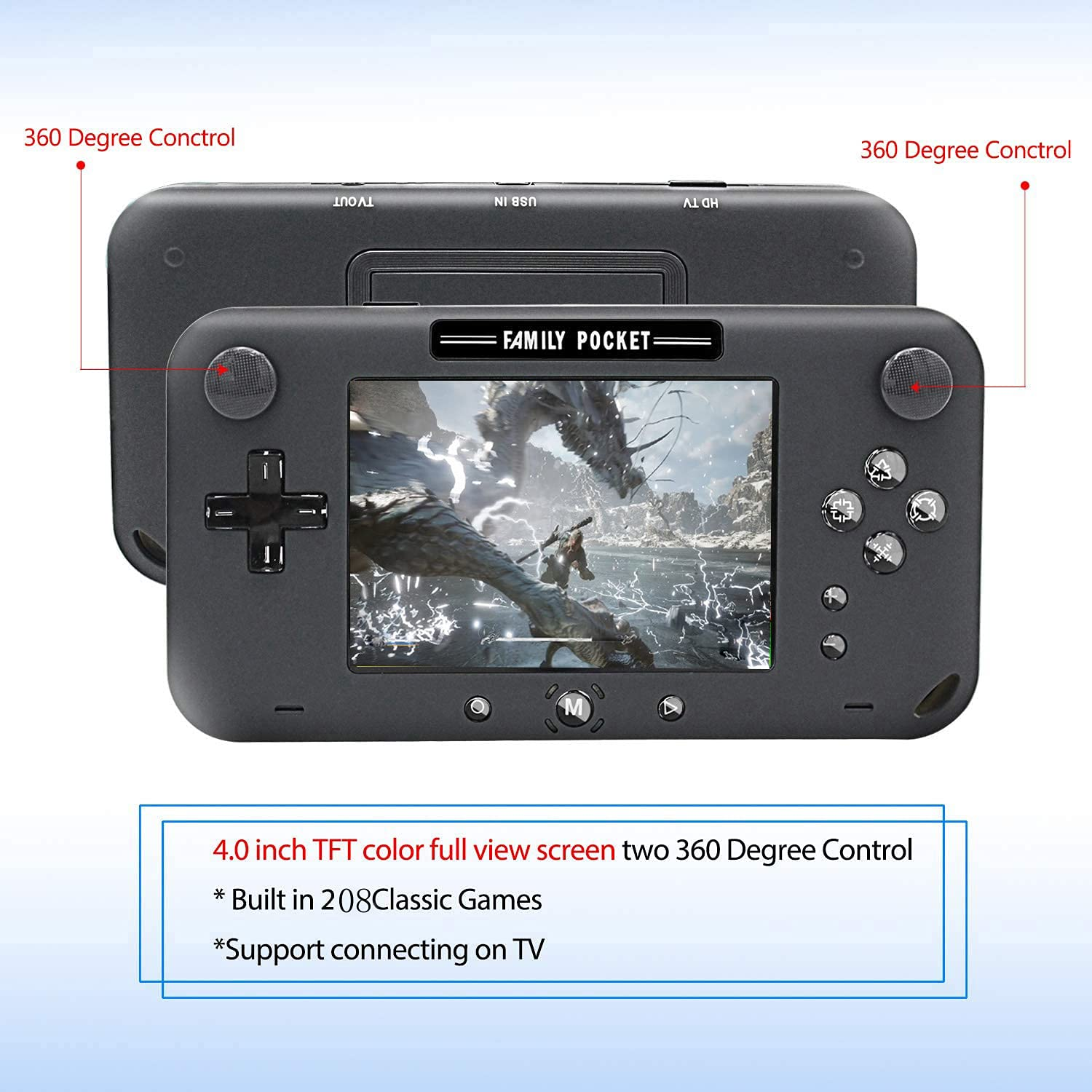 """Joseky Handheld Game Console, Portable Game Player Built-in 208 HD Classic Games 4"""" LCD Retro Gaming System, Support TV/AV 12 Bit Rechargeable Handheld Game Console (Black)"""
