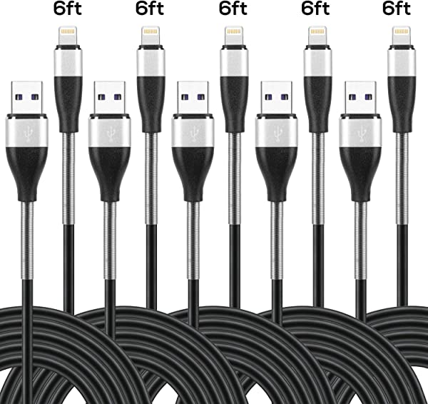 5 Pack IPhone Charger Cable 6ft Certified Long IPhone Charging Cables 6 Foot Durable Spring Protection Data Sync Charging Cord For IPhone XS XR XsMAX X 8 8 Plus 7 7 Plus IPad Black