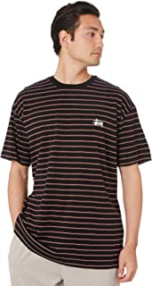 Stussy Men's Burke Stripe Mens Ss Tee Crew Neck Short Sleeve Cotton Black