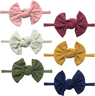 Baby Girl Headbands and Bows, Super Soft & Stretchy Nylon Hair bands for Newborn, Toddler, Children
