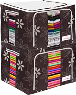 BlushBees® Living Box - Clothes Organiser for Wardrobe, Storage Boxes for Clothes with Zip - 66 Litre, Pack of 2, Brown